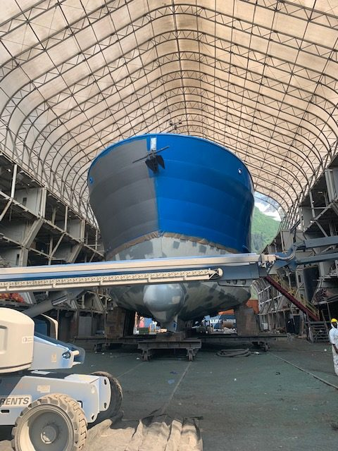 marine sandblasting and painting at JAG Alaska Inc., Seward Shipyard
