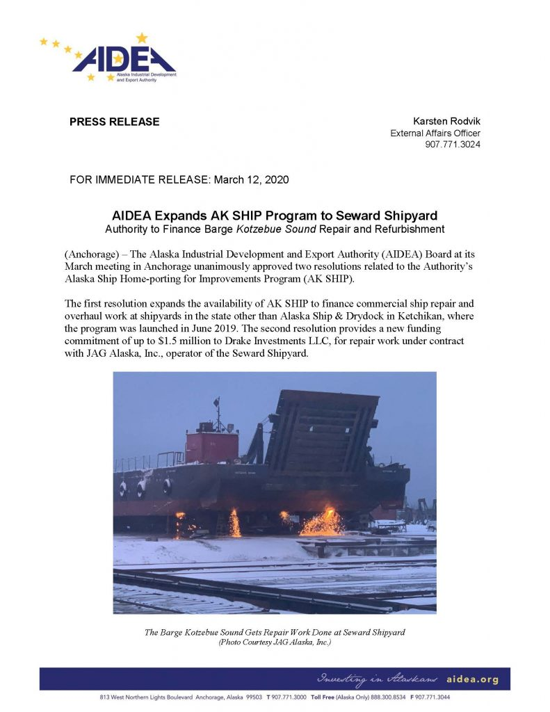 AIDEA Press Release re Seward Shipyard 1