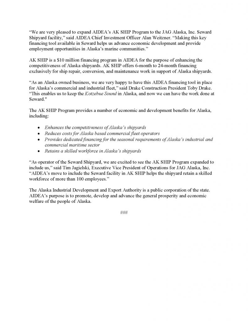 AIDEA Press Release re Seward Shipyard 2